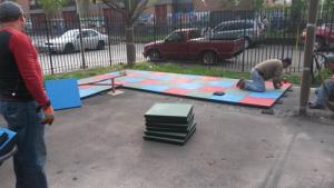 Installing Rubber Playground Safety Mat Tiles | New York City | adventureTURF
